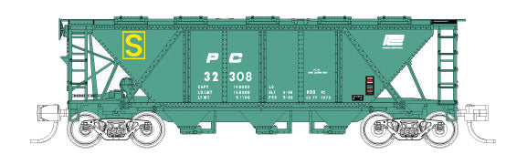Fox Valley Models 90513 N Penn Central PRR Class H30 3-Bay Covered Hopper - Ready to Run #32308