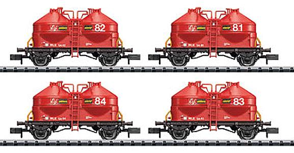 Trix 15087 N German 4pc Cement Silo Car Set of the Deutsche Bahn