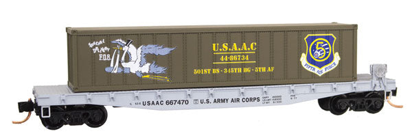 MicroTrains 4500508 50' Steel Flatcar w/40' Container Load - Ready to Run