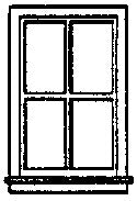 Grandt Line 5117 Window Double-Hung 4-Pane Scale 36 x 64 91.4 x 163cm pkg (8)
