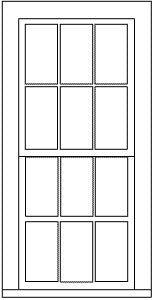Grandt Line 5283 HO 38? x 86? Double-Hung 6/6 Light Window (Pack of 6)
