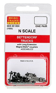 MicroTrains 302024 N Bettendorf Trucks With Couplers Extended Bolster 1 Pair