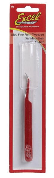 Excel Hobby Blades Corp. 271-30426 Slanted Fine Point Tweezers Red