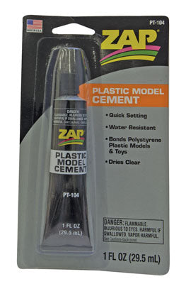 Pacer Glue PT-104 Zap Plastic Model Cement 1oz 29.6ml Tube