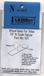 American Model Builders 521 N Laser-Cut Wood Deck for Atlas 50' Flat Car  (Pack of 2)