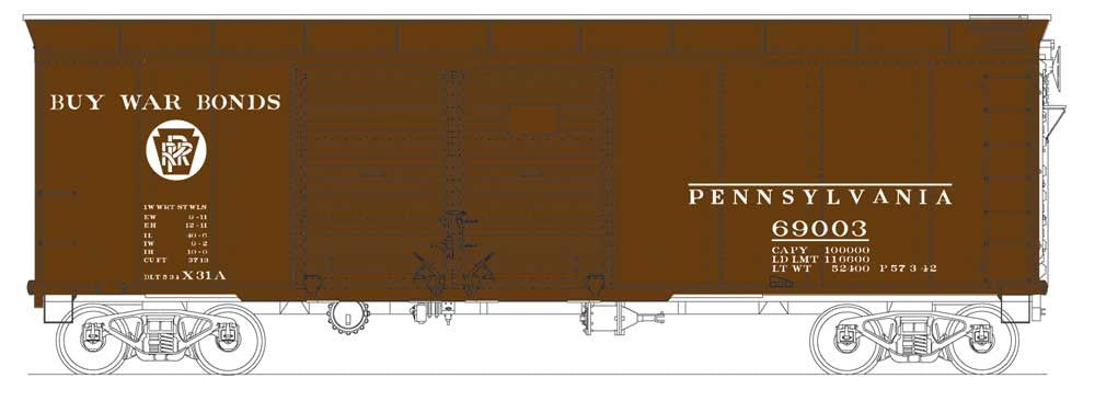 Bowser 41044 HO Pennsylvania Class X31a Round-Roof Double-Door Boxcar #69003