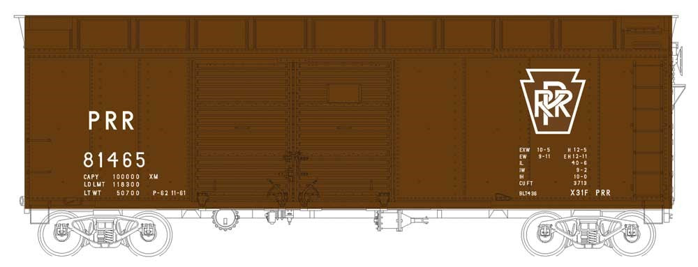 Bowser 41068 HO Pennsylvania Class X31a Turtle-Roof Double-Door Boxcar #81465