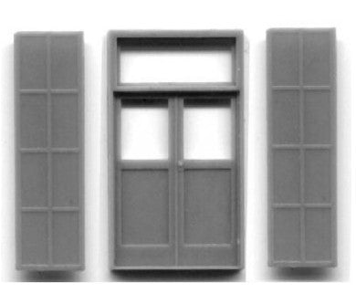 Grandt Line 5136 HO 5' x 9'7? Double Door with Iron Shutters (Pack of 2)