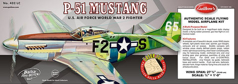 "Guillows 402 1:16 P51 Mustang 27-3/4"" Wingspan Laser Cut Kit"