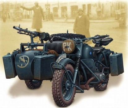Master Box Models 3528 1:35 WWII German Motorcycle with Sidecar