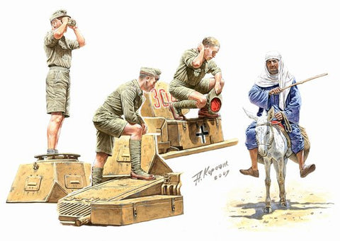 Master Box Models 3559 1:35 German Tankmen & Donkey with Rider Afrika