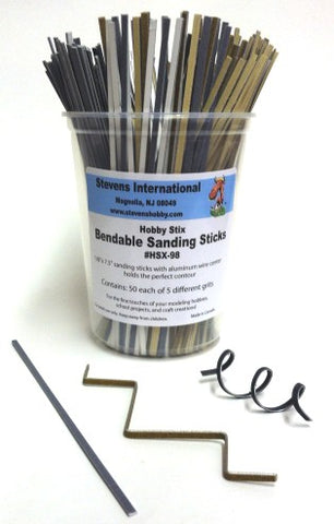 Hobby Stix 98 Bendable Sanding Sticks Counter Canister (50ea of 5 diff grits)