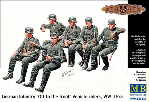 "Master Box Models 35137 1:35 German Infantry ""Off To The Front"" Vehicle Riders WW II Era"