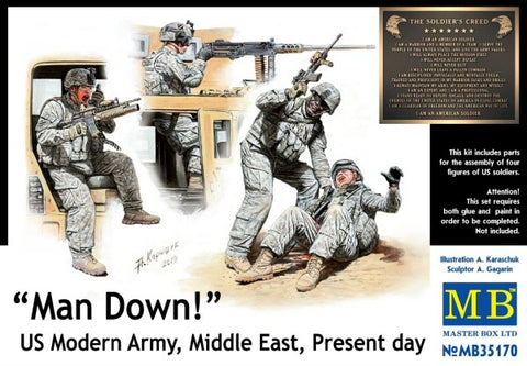 Master Box Models 35170 1:35 Man Down! US Modern Army Middle East Present Day