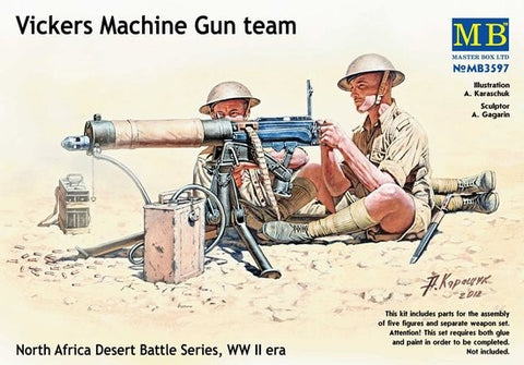 Master Box Models 3597 1:35 Vickers Machine Gun Team North Africa Desert Battle Series WW II Era
