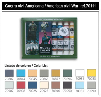 Vallego Paint 70111 American Civil War Model Color Paint Set (16 Colors)