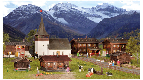Kibri 38010 HO Sertig-Dorfli 7-Building Village Set Kit
