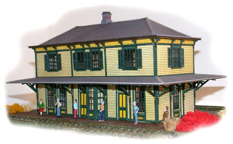 The N Scale Architect 40008 HO CNJ Two-Story Station Kit - Railway Heritage Models