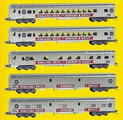MicroTrains 99401100 Z Ringling Bros 5-Car Smooth-Side Passenger Set - Ready to Run