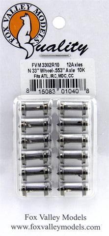 "Fox Valley Models 3302R10 N 33"" Wheels .553 Axle 12pc & 10K Resistors for Current-Sensing"