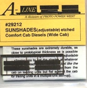 "Proto Power 29212 HO Wide Cab 3/8"" Sunshades (Pack of 4)"