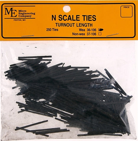 Micro Engineering 36-106 N Turnout Length Weathered Ties (Pack of 250)