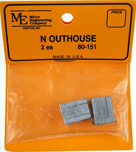 Micro Engineering 80-151 N White Metal Castings Outhouses (Pack of 2)