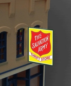 Miller Engineering 6381 HO/O Large Salvation Army Thrift,Animated Style Sign