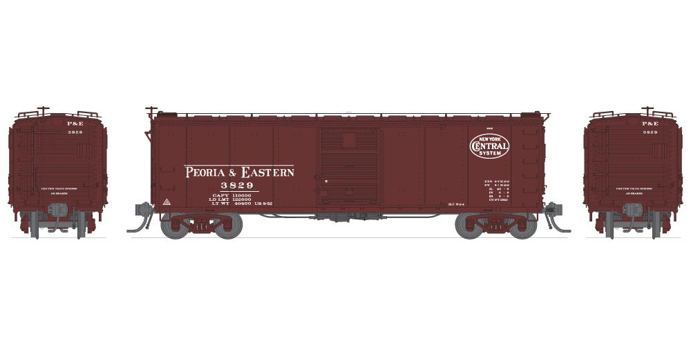 Broadway Limited 3406 N Peoria & Eastern NYC 40' Steel Boxcar (4)