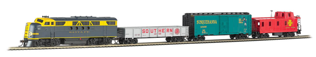Bachmann 01501 HO Santa Fe Blue Lightning Diesel Freight Train Set w/Bluetooth