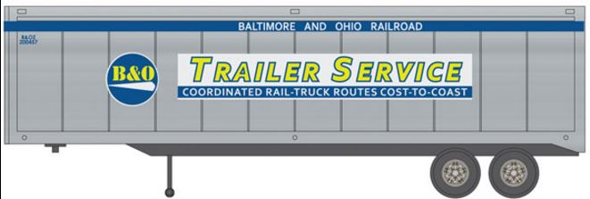 Walthers 949-2315 HO Baltimore & Ohio (Trailer Service Markings) - 40' Trailer 2-Pack