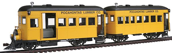 Bachmann 28460 On30 Pocahontas Lumber Co. Railbus & Trailer w/DCC