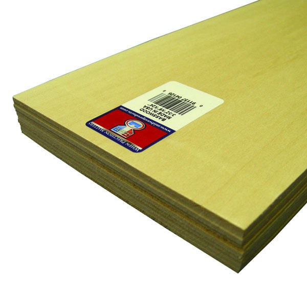 "Midwest Products 4126 3/32"" Basswood 6 x 24"" Sheet (10)"