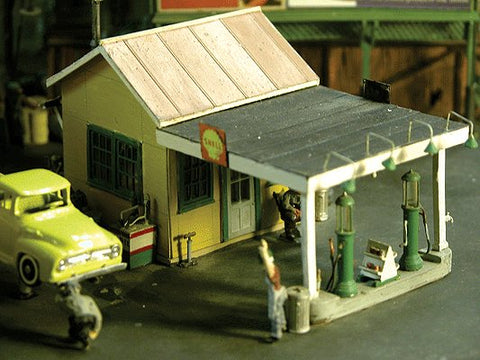 Scale Structures 1101 HO 1929 Gas Station w/Exterior Details Super Kit - 2 x 4