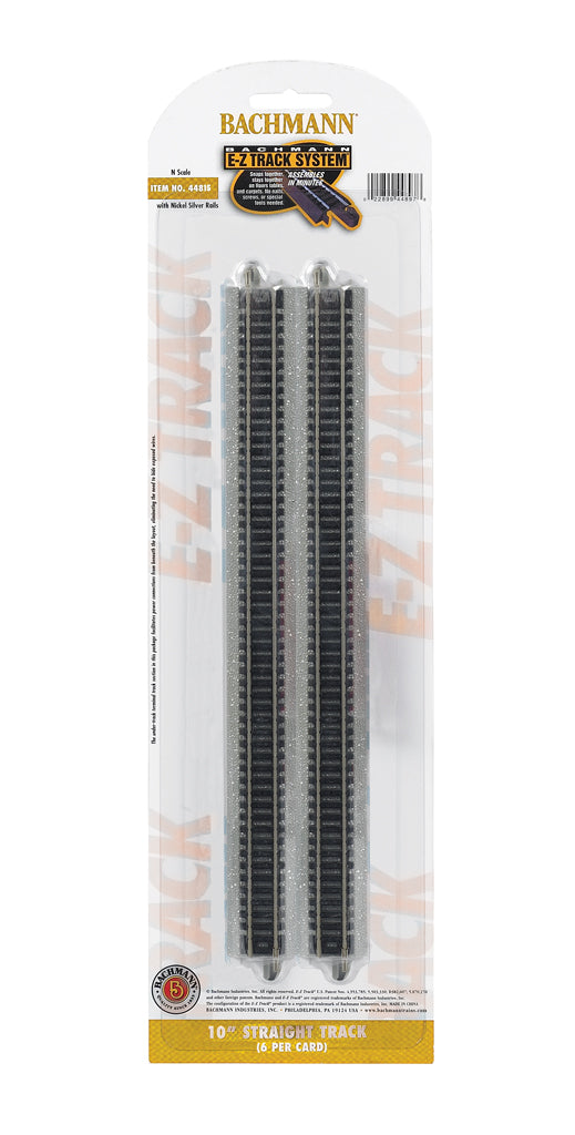 "Bachmann 44815 N Nickel Silver 10"" Straight Track w/ Gray Roadbed (Pack of 6)"