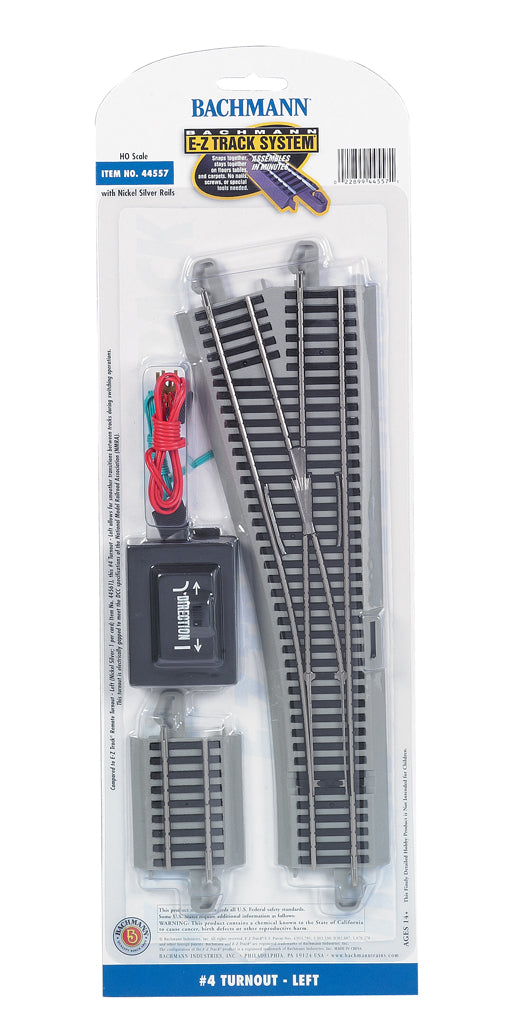 Bachmann 44557 HO Nickel Silver #4 Left Hand Remote Switch Turnout