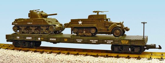 USA Trains R1779 G U.S. Army with M3A2 & M4A3 Steel Flatcar with Load #G5056