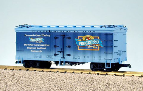 USA Trains 16281 G Progresso Soup Wood Refrigerator Car with Trussrod Underframe