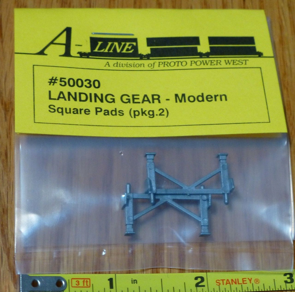 A-Line 50030 HO Landing Gear for Semi Trailers Modern Square Pads (Pack of 2)