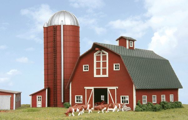 American Model Builders 630 N Country Barn with Silo Kit LASERkit®