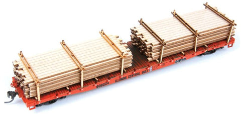 "American Model Builders 201 HO Extended Lumber Loads Kit - Fits GSC 53'6"" Flatcars"