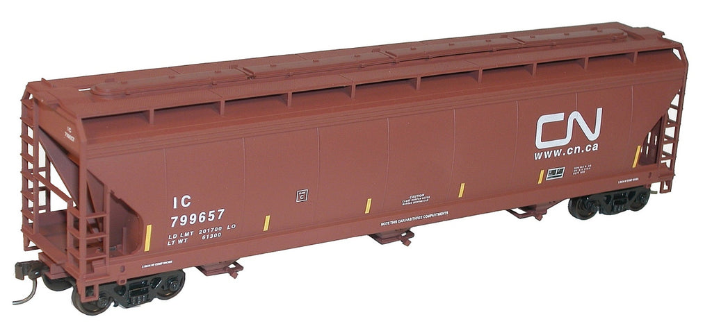 Accurail 2102 HO Illinois Central/Canadian National ACF 3-Bay Centerflow Hopper Kit