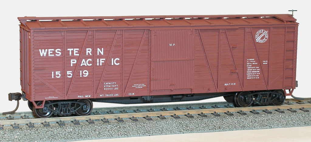 Accurail 4117 HO Western Pacific 40' Wood Outside Braced Boxcar Kit
