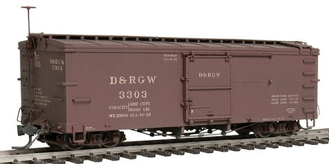 Blackstone Models 340129W HOn3 Denver & Rio Grande Western 3000 Series 30' Boxcar #3303 - Weathered
