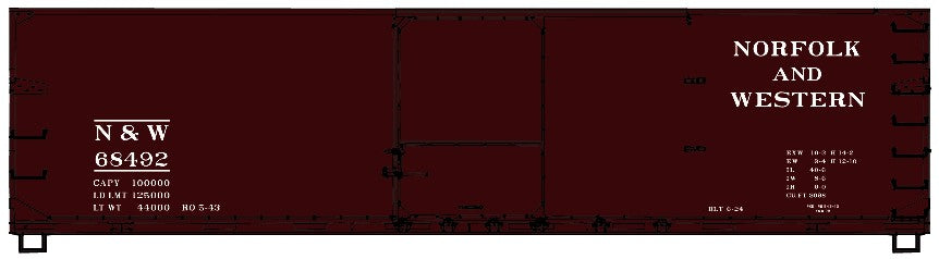 Accurail 4642 HO 40' Dbl Sheath Wood Boxcar Kit - N & W #68492
