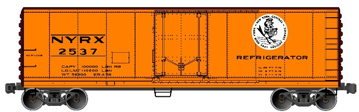Accurail 8519 HO 40' Steel Plug Door Refrigerator Cars - New York Central #2537