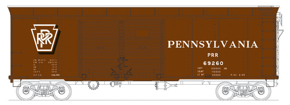 Bowser 41045 HO Pennsylvania Railroad Class X31a Round-Roof Double-Door Boxcar #69010