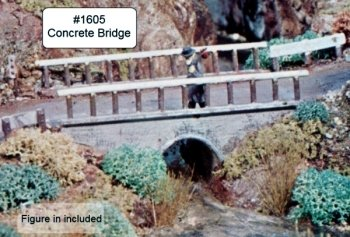 Campbell Scale Models 1605 HO Concrete Bridge with Highway Accessories