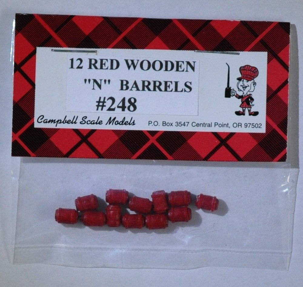 Campbell Scale Models 248 N Red Wooden Barrels