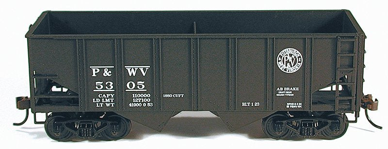 Bowser 56953 HO Pittsburgh & West Virginia 55-Ton U-Channel Open Hopper Kit #5312